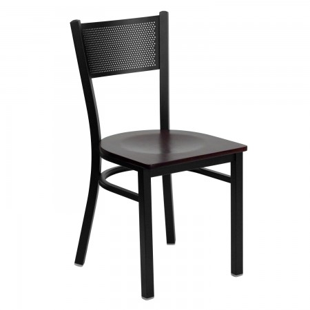 Flash Furniture XU-DG-60115-GRD-MAHW-GG HERCULES Series Black Grid Back Metal Restaurant Chair - Mahogany Wood Seat