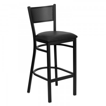Flash Furniture XU-DG-60116-GRD-BAR-BLKV-GG HERCULES Series Black Grid Back Metal Restaurant Bar Stool - Black Vinyl Seat