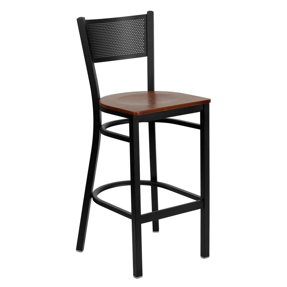 Flash Furniture XU-DG-60116-GRD-BAR-CHYW-GG HERCULES Series Black Grid Back Metal Restaurant Bar Stool - Cherry Wood Seat