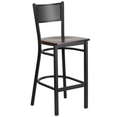 Flash Furniture XU-DG-60116-GRD-BAR-WALW-GG HERCULES Black Grid Back Metal Restaurant Barstool - Walnut Wood Seat