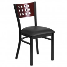 Flash Furniture XU-DG-60117-MAH-BLKV-GG Flash Furniture HERCULES Series Black Decorative Cutout Back Metal Restaurant Chair, Mahogany Wood Back, Black Vinyl Seat