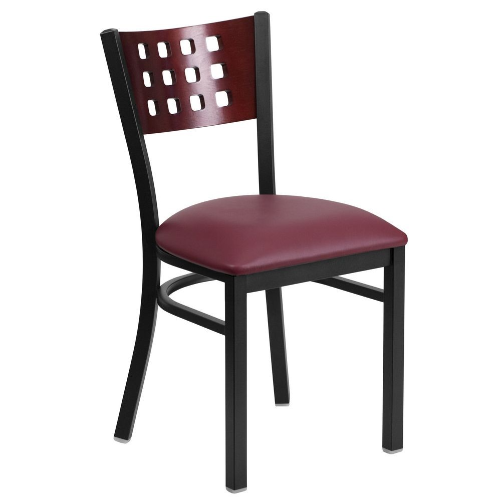 Flash Furniture 1093-XU-DG-60117-MAH-BURV-GG HERCULES Series Black Decorative 4 Square Back Metal Restaurant Chair, Mahogany Wood Back and Seat