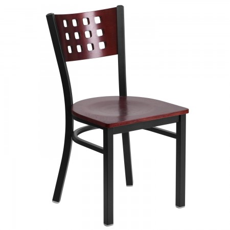 Flash Furniture XU-DG-60117-MAH-MTL-GG HERCULES Series Black Decorative Cutout Back Metal Restaurant Chair, Mahogany Wood Back and Seat