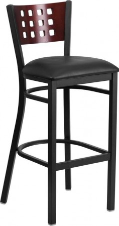 Flash Furniture XU-DG-60118-MAH-BAR-BLKV-GG HERCULES Black Decorative Cutout Back Metal Restaurant Barstool. Mahogany Wood Back, Black Vinyl Seat