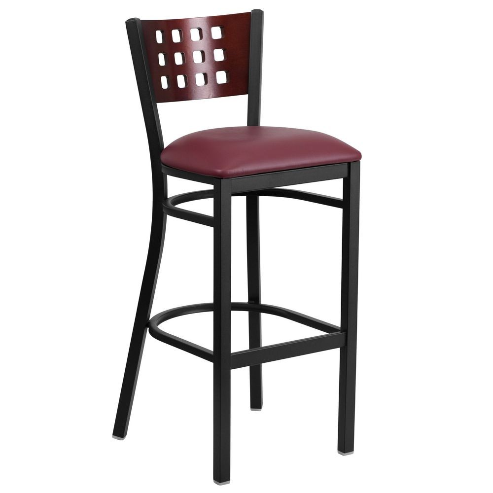 Flash Furniture XU-DG-60118-MAH-BAR-BURV-GG HERCULES Black Decorative Cutout Back Metal Restaurant Barstool, Mahogany Wood Back, Burgundy Vinyl Seat