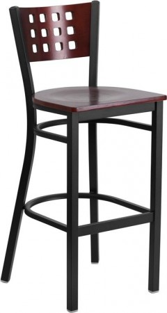 Flash Furniture XU-DG-60118-MAH-BAR-MTL-GG HERCULES Series Black Decorative Cutout Back Metal Restaurant Barstool with Mahogany Wood Back and Seat