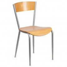 Flash Furniture 1093-XU-DG-60217-NAT-GG Invincible Series Metal Restaurant Chair with Natural Wood Back and Seat