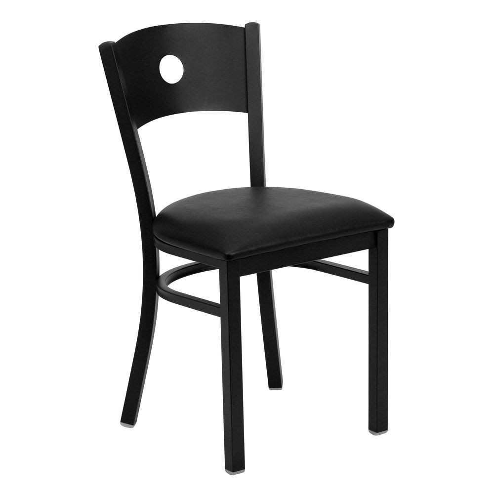 Flash Furniture XU-DG-60119-CIR-BLKV-GG HERCULES Series Black Circle Back Metal Restaurant Chair - Black Vinyl Seat