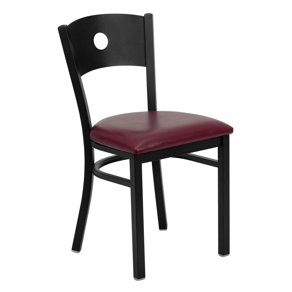 Flash Furniture XU-DG-60119-CIR-BURV-GG HERCULES Series Black Circle Back Metal Restaurant Chair - Burgundy Vinyl Seat