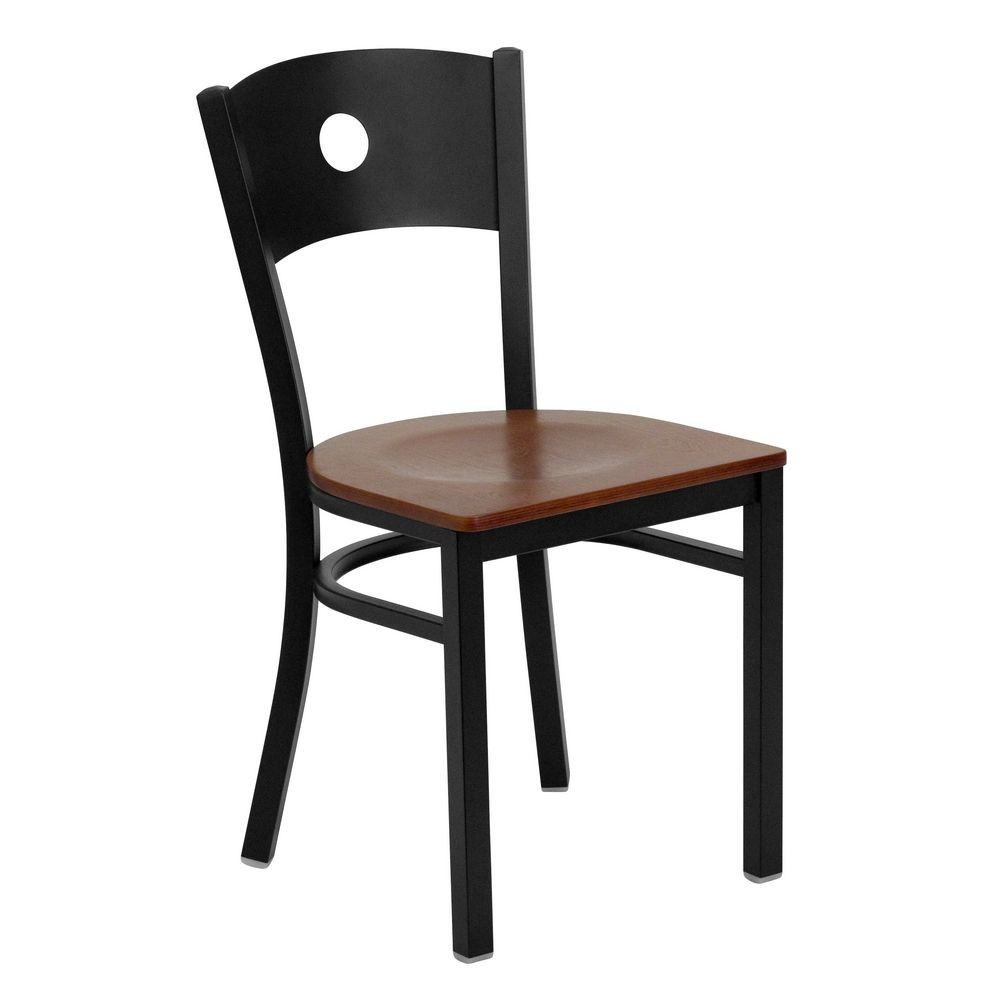 Flash Furniture XU-DG-60119-CIR-CHYW-GG HERCULES Series Black Circle Back Metal Restaurant Chair - Cherry Wood Seat