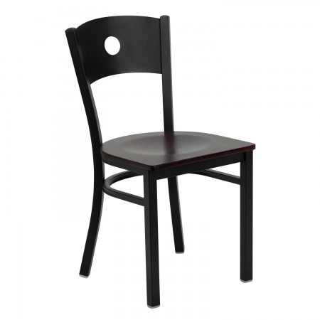 Flash Furniture XU-DG-60119-CIR-MAHW-GG HERCULES Series Black Circle Back Metal Restaurant Chair - Mahogany Wood Seat