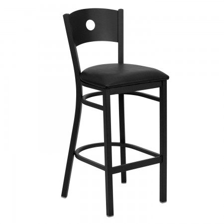 Flash Furniture XU-DG-60120-CIR-BAR-BLKV-GG HERCULES Series Black Circle Back Metal Restaurant Bar Stool - Black Vinyl Seat