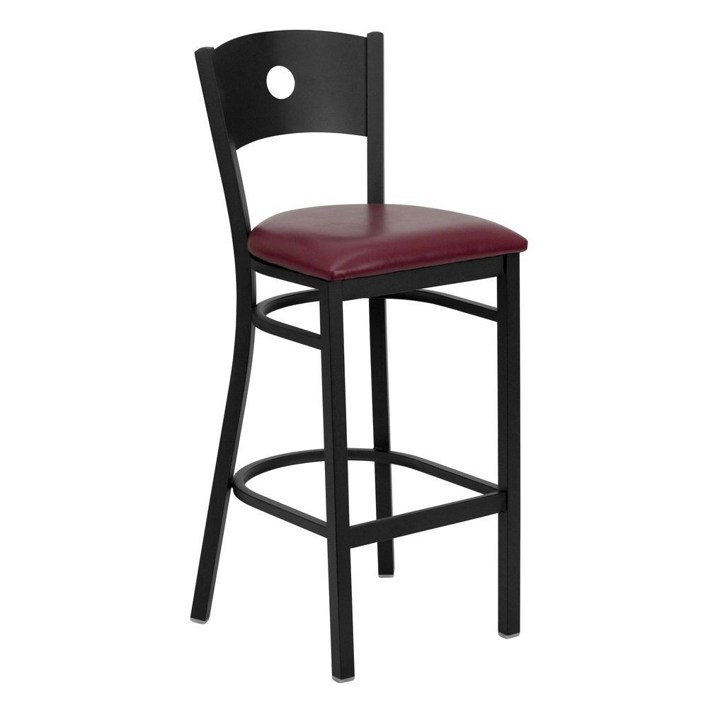 Flash Furniture XU-DG-60120-CIR-BAR-BURV-GG HERCULES Series Black Circle Back Metal Restaurant Bar Stool - Burgundy Vinyl Seat