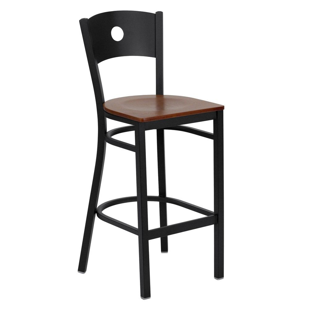 Flash Furniture XU-DG-60120-CIR-BAR-CHYW-GG HERCULES Series Black Circle Back Metal Restaurant Bar Stool - Cherry Wood Seat