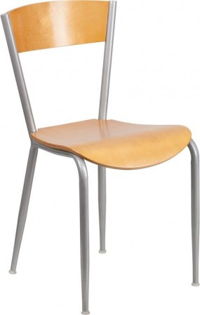 Flash Furniture XU-DG-60217-NAT-GG Invincible Series Metal Restaurant Chair with Natural Wood Back and Seat