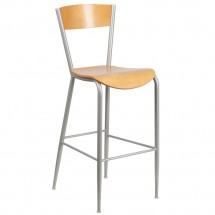 Flash Furniture XU-DG-60218-NAT-GG Invincible Series Metal Restaurant Barstool with Natural Wood Back and Seat