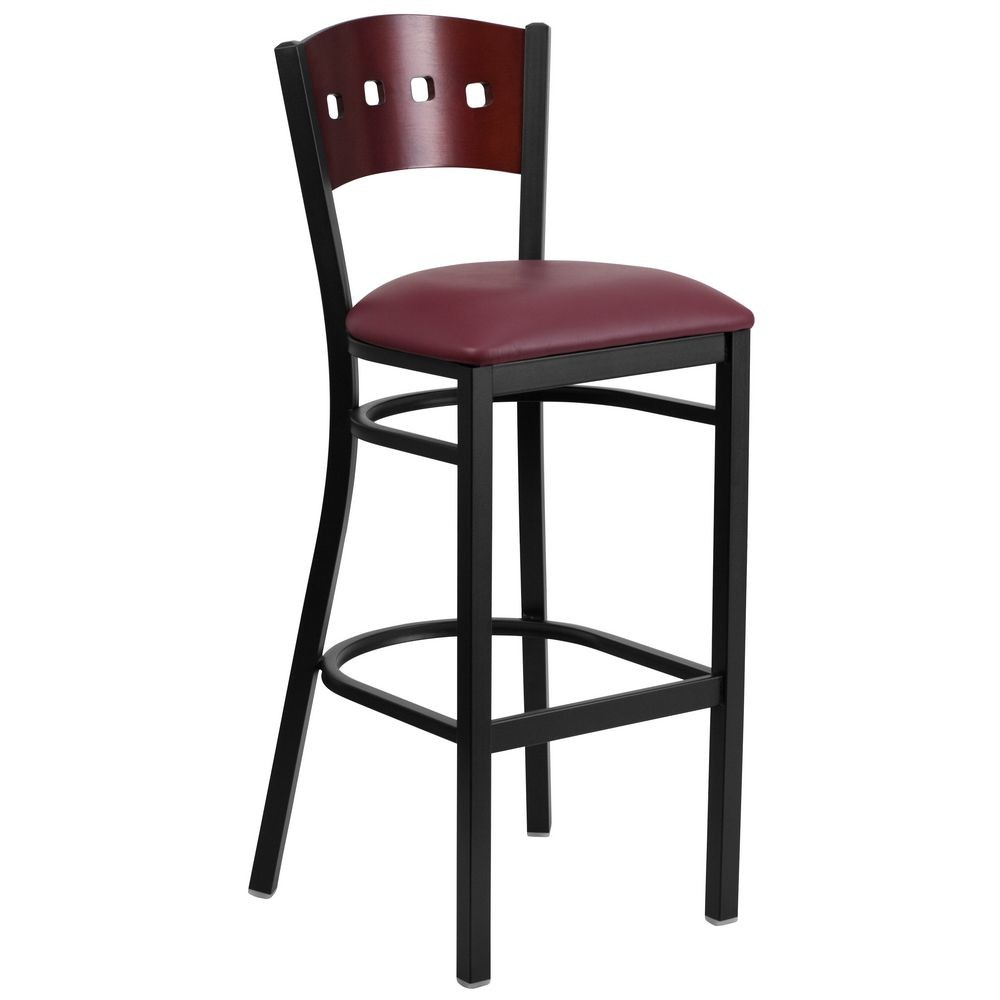 Flash Furniture XU-DG-60515-MAH-BAR-BURV-GG HERCULES Black Decorative 4 Square Back Metal Restaurant Barstool, Mahogany Wood Back, Burgundy Vinyl Seat