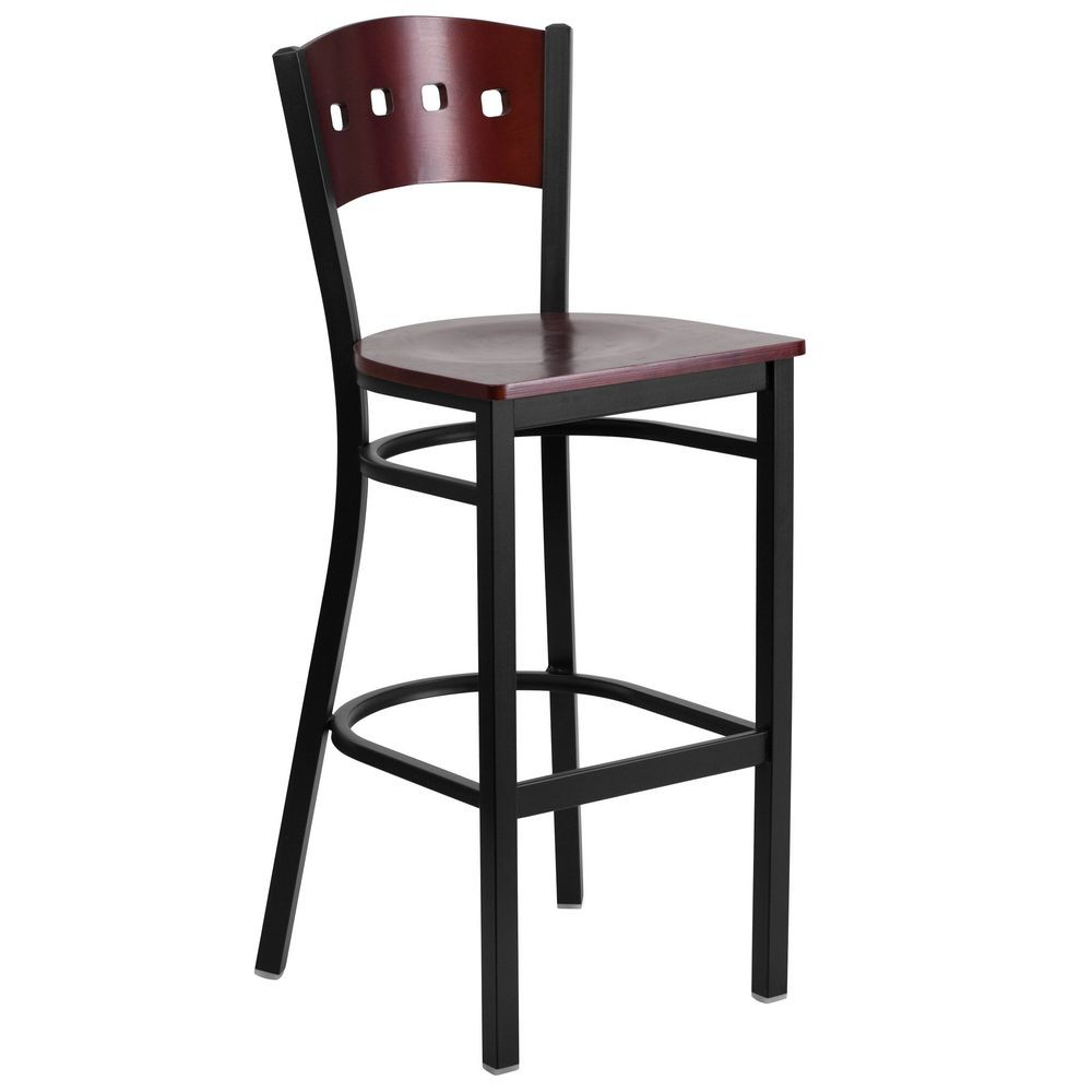 Flash Furniture XU-DG-60515-MAH-BAR-MTL-GG HERCULES Series Black Decorative 4 Square Back Metal Restaurant Barstool, Mahogany Wood Back and Seat