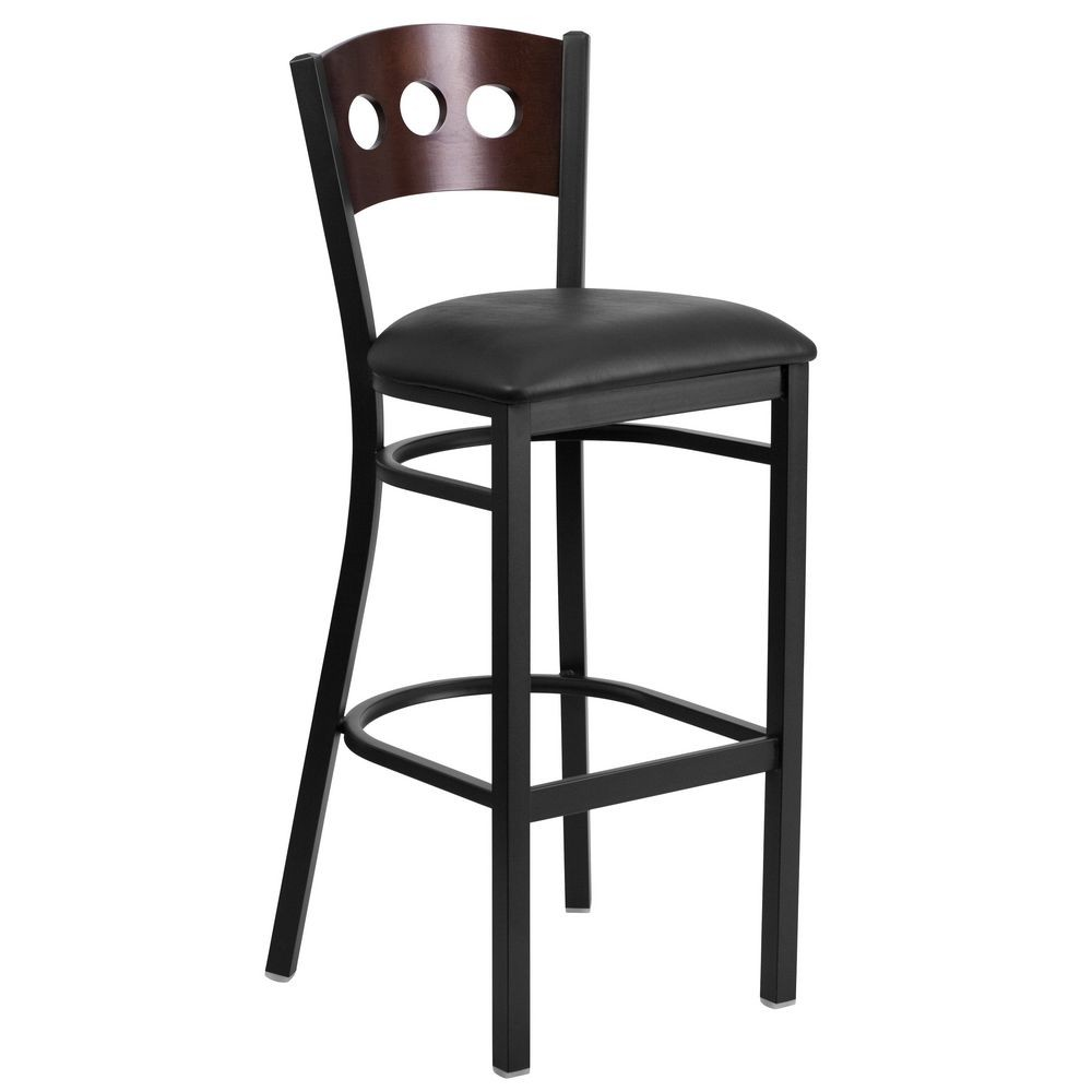 Flash Furniture XU-DG-60516-WAL-BAR-BLKV-GG HERCULES Black Decorative 3 Circle Back Metal Restaurant Barstool, Walnut Wood Back, Black Vinyl Seat