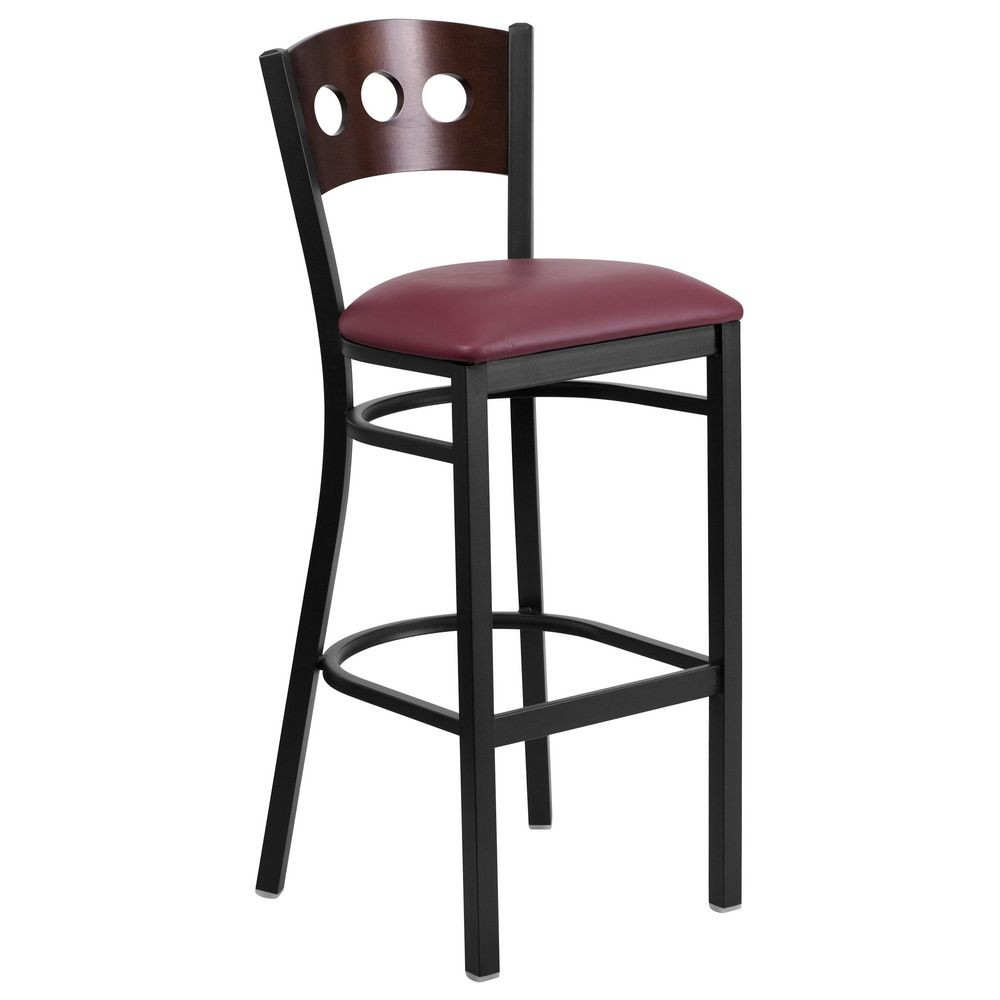 Flash Furniture XU-DG-60516-WAL-BAR-BURV-GG HERCULES Black Decorative 3 Circle Back Metal Restaurant Barstool, Walnut Wood Back, Burgundy Vinyl Seat