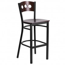 Flash Furniture XU-DG-60516-WAL-BAR-MTL-GG HERCULES Series Black Decorative 3 Circle Back Metal Restaurant Barstool, Walnut Wood Back and Seat