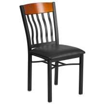 Flash Furniture XU-DG-60618-CHY-BLKV-GG Eclipse Vertical Back Black Metal and Cherry Wood Restaurant Chair with Black Vinyl Seat