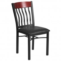 Flash Furniture XU-DG-60618-MAH-BLKV-GG Eclipse Vertical Back Black Metal and Mahogany Wood Restaurant Chair with Black Vinyl Seat