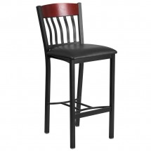 Flash Furniture XU-DG-60618B-MAH-BLKV-GG Eclipse Vertical Back Black Metal and Mahogany Wood Restaurant Barstool with Black Vinyl Seat