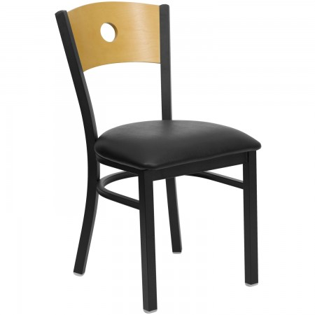 Flash Furniture XU-DG-6F2B-CIR-BLKV-GG HERCULES Series Black Circle Back Metal Restaurant Chair - Natural Wood Back, Black Vinyl Seat