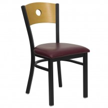 Flash Furniture XU-DG-6F2B-CIR-BURV-GG HERCULES Series Black Circle Back Metal Restaurant Chair - Natural Wood Back, Burgundy Vinyl Seat