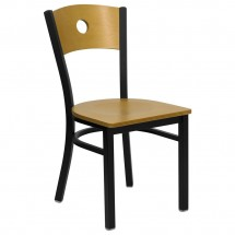 Flash Furniture XU-DG-6F2B-CIR-NATW-GG HERCULES Series Black Circle Back Metal Restaurant Chair - Natural Wood Back and Seat