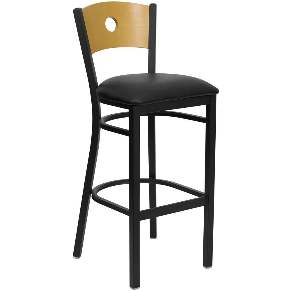 Flash Furniture XU-DG-6F6B-CIR-BAR-BLKV-GG HERCULES Series Black Circle Back Metal Restaurant Bar Stool - Natural Wood Back, Black Vinyl Seat