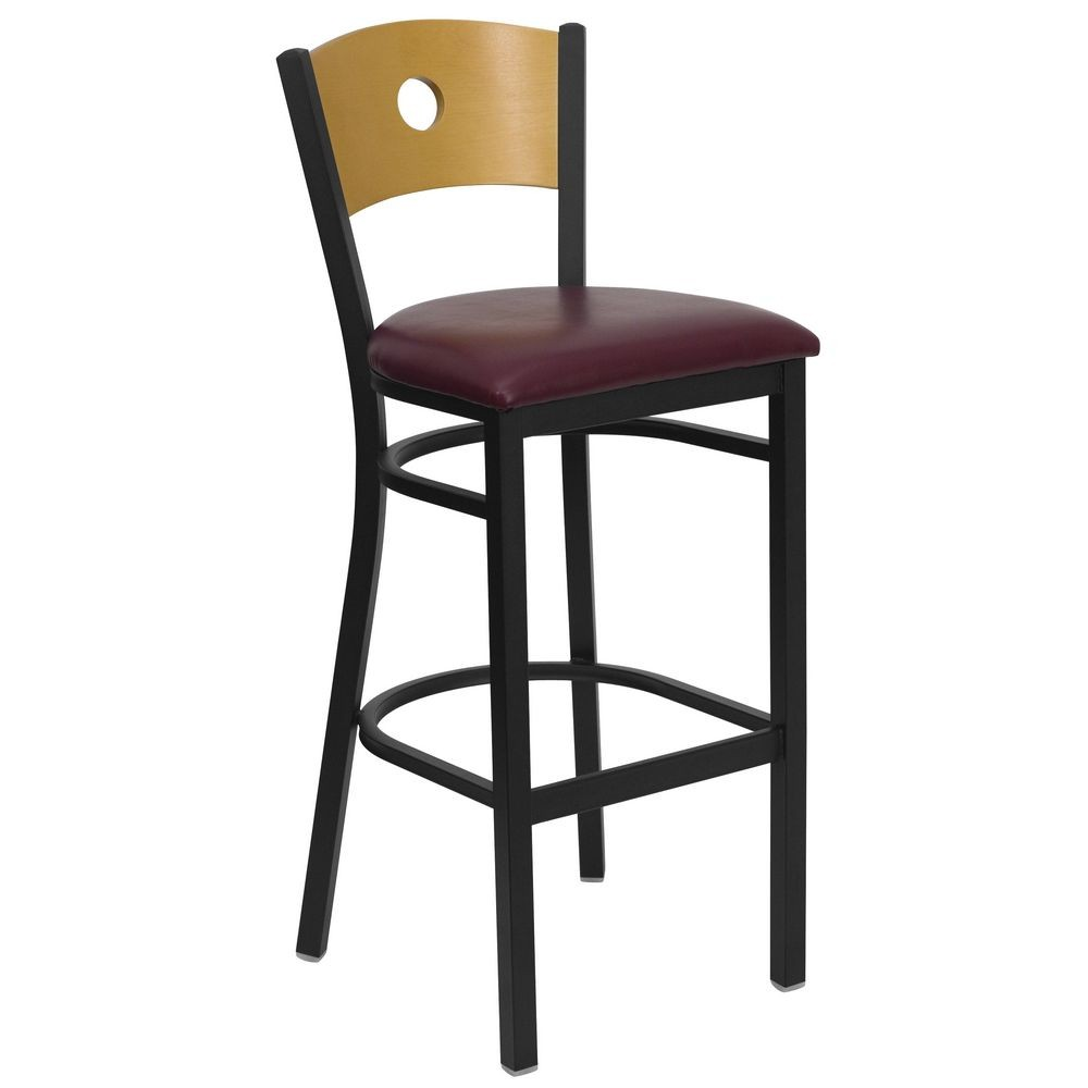 Flash Furniture XU-DG-6F6B-CIR-BAR-BURV-GG HERCULES Series Black Circle Back Metal Restaurant Bar Stool - Natural Wood Back, Burgundy Vinyl Seat
