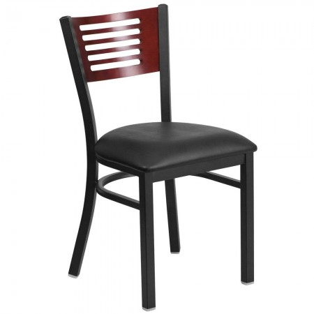 Flash Furniture XU-DG-6G5B-MAH-BLKV-GG HERCULES Black Slat Back Metal Restaurant Chair - Mahogany Wood Back, Black Vinyl Seat