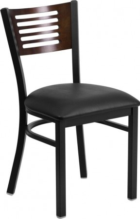 Flash Furniture XU-DG-6G5B-WAL-BLKV-GG HERCULES Series Black Decorative Slat Back Metal Restaurant Chair with Walnut Wood Back and Black Vinyl Seat