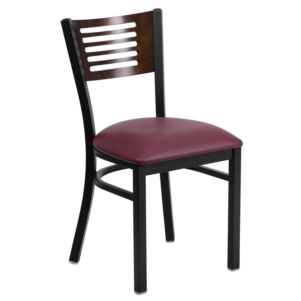 Flash Furniture XU-DG-6G5B-WAL-BURV-GG HERCULES Series Black Decorative Slat Back Metal Restaurant Chair with Walnut Wood Back and Burgundy Vinyl Seat