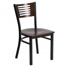Flash Furniture XU-DG-6G5B-WAL-MTL-GG HERCULES Series Black Decorative Slat Back Metal Restaurant Chair with Walnut Wood Back and Seat
