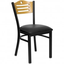 Flash Furniture XU-DG-6G7B-SLAT-BLKV-GG HERCULES Series Black Slat Back Metal Restaurant Chair - Natural Wood Back, Black Vinyl Seat