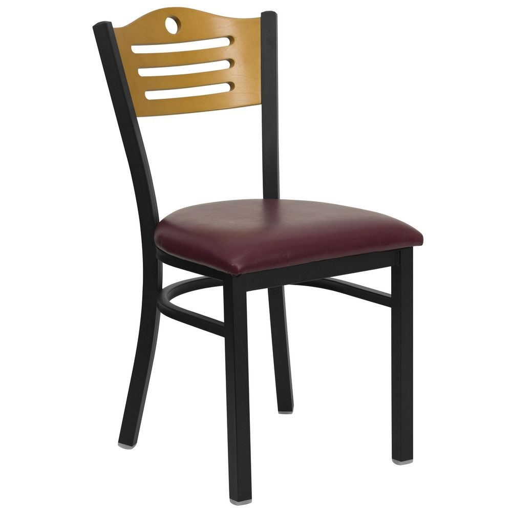 Flash Furniture XU-DG-6G7B-SLAT-BURV-GG HERCULES Series Black Slat Back Metal Restaurant Chair - Natural Wood Back, Burgundy Vinyl Seat
