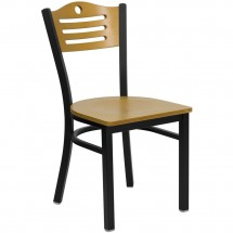 Flash Furniture XU-DG-6G7B-SLAT-NATW-GG HERCULES Series Black Slat Back Metal Restaurant Chair - Natural Wood Back and Seat
