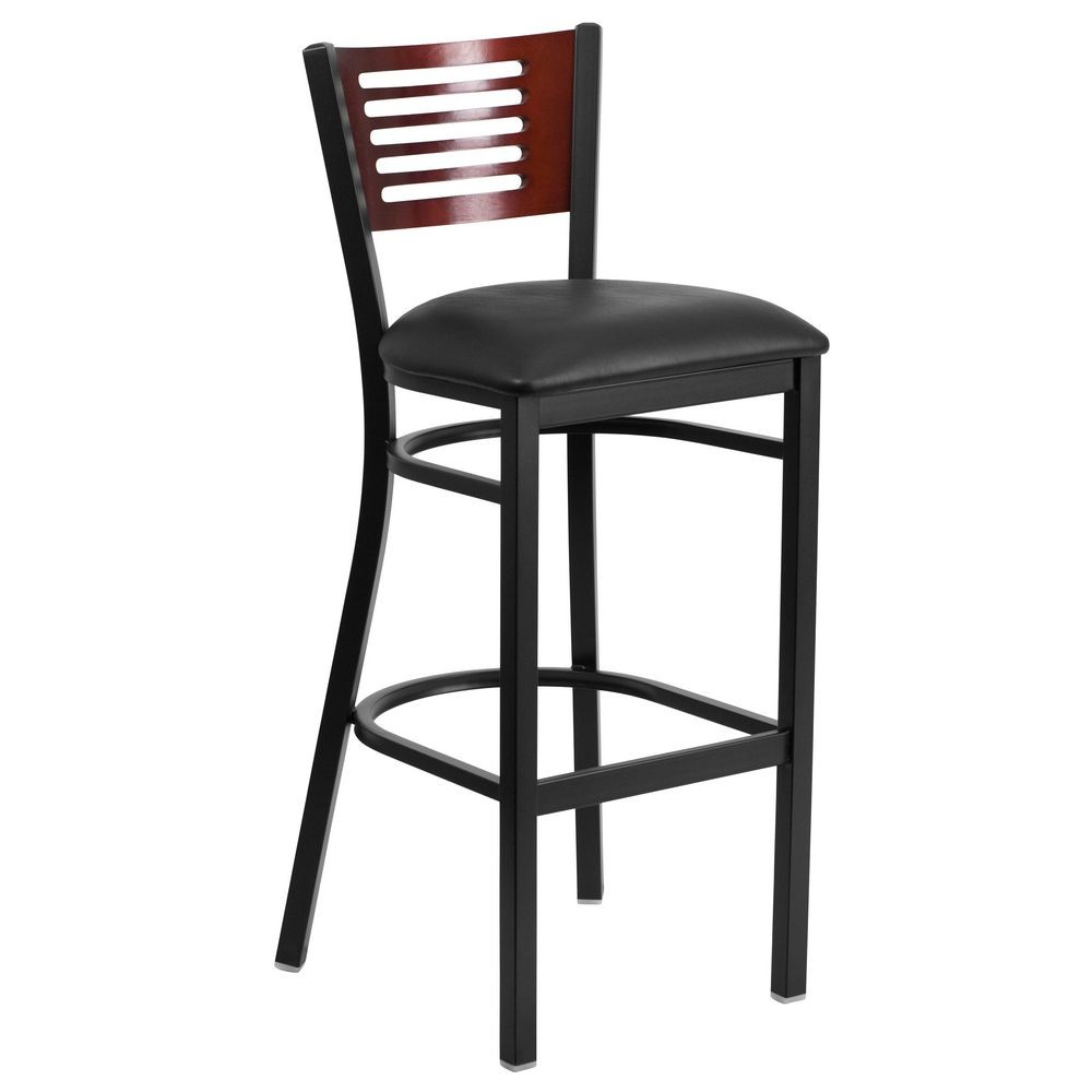 Flash Furniture XU-DG-6H1B-MAH-BAR-BLKV-GG HERCULES Series Black Decorative Slat Back Metal Restaurant Barstool with Mahogany Wood Back and Black Vinyl Seat