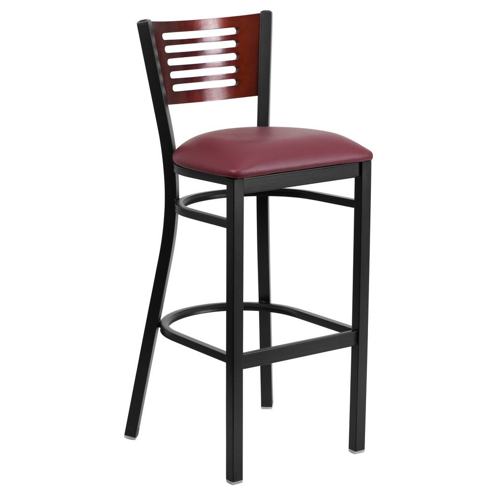 Flash Furniture XU-DG-6H1B-MAH-BAR-BURV-GG HERCULES Series Black Decorative Slat Back Metal Restaurant Barstool - Mahogany Wood Back, Burgundy Vinyl Seat