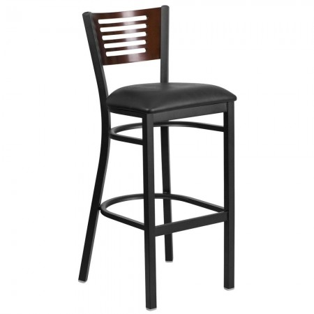 Flash Furniture XU-DG-6H1B-WAL-BAR-BLKV-GG HERCULES Black Slat Back Metal Restaurant Barstool - Walnut Wood Back, Black Vinyl Seat