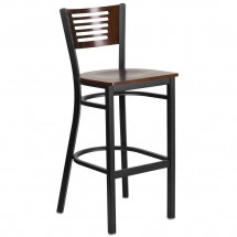 Flash Furniture XU-DG-6H1B-WAL-BAR-MTL-GG HERCULES Black Slat Back Metal Restaurant Barstool - Walnut Wood Back and Seat