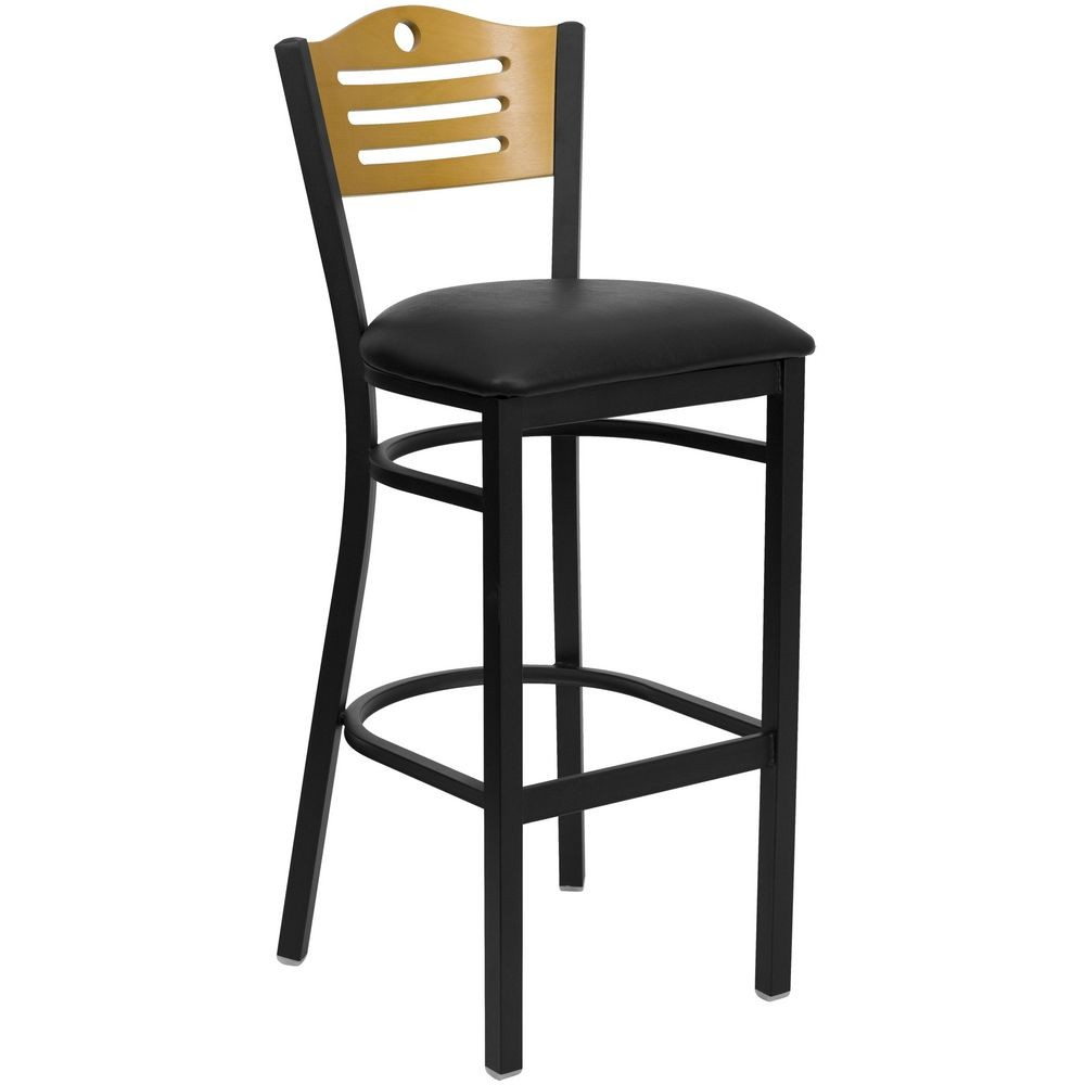 Flash Furniture XU-DG-6H3B-SLAT-BAR-BLKV-GG HERCULES Series Black Slat Back Metal Restaurant Bar Stool - Natural Wood Back, Black Vinyl Seat