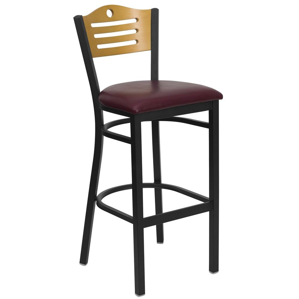 Flash Furniture XU-DG-6H3B-SLAT-BAR-BURV-GG HERCULES Series Black Slat Back Metal Restaurant Bar Stool - Natural Wood Back, Burgundy Vinyl Seat