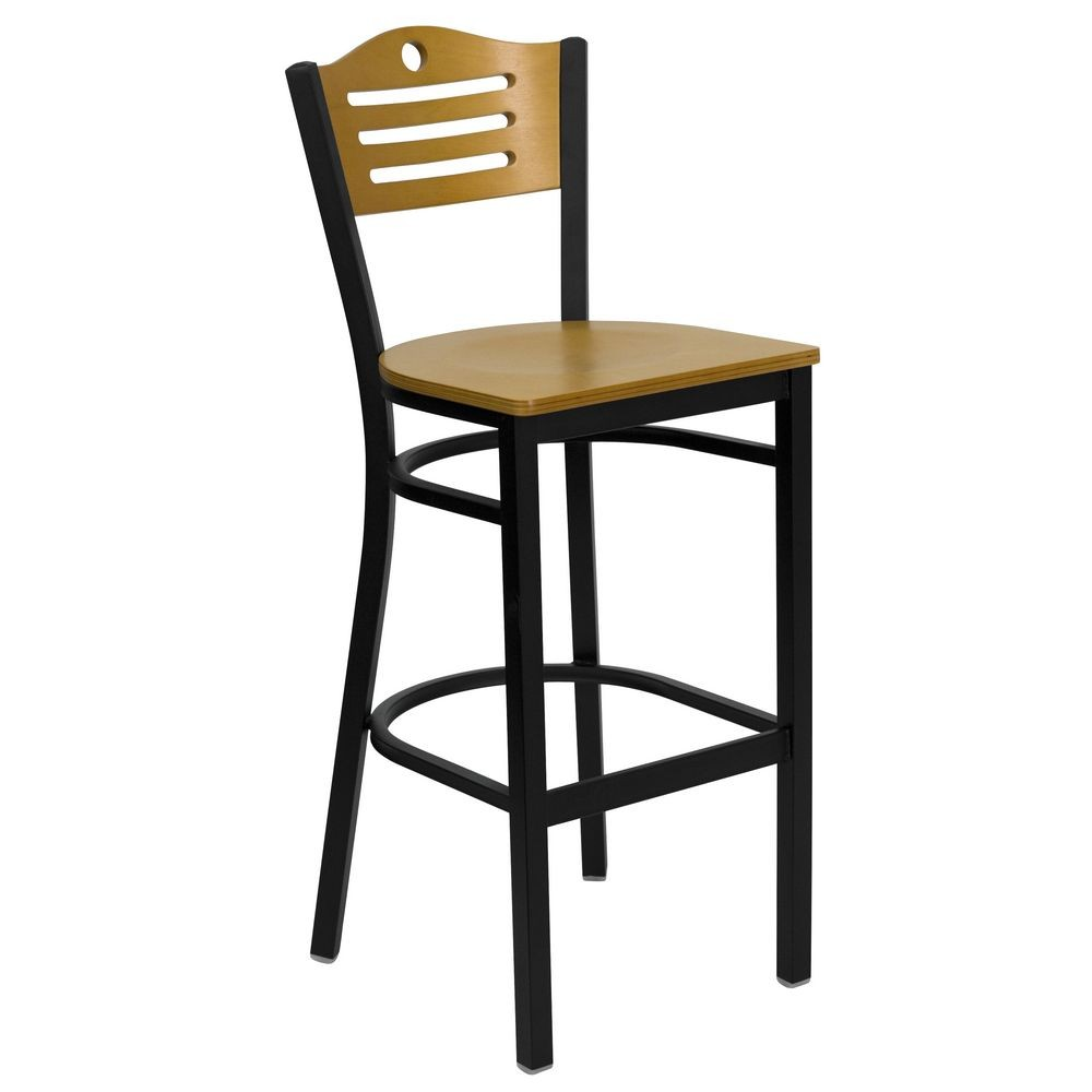 Flash Furniture XU-DG-6H3B-SLAT-BAR-NATW-GG HERCULES Series Black Slat Back Metal Restaurant Bar Stool - Natural Wood Back and Seat