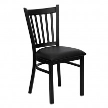 Flash Furniture XU-DG-6Q2B-VRT-BLKV-GG HERCULES Series Black Vertical Back Metal Restaurant Chair - Black Vinyl Seat