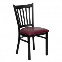 Flash Furniture XU-DG-6Q2B-VRT-BURV-GG HERCULES Series Black Vertical Back Metal Restaurant Chair - Burgundy Vinyl Seat