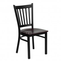 Flash Furniture XU-DG-6Q2B-VRT-MAHW-GG HERCULES Series Black Vertical Back Metal Restaurant Chair - Mahogany Wood Seat